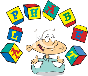 Royalty Free Clipart Image of a Baby Juggling Blocks
