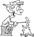 Royalty Free Clipart Image of a Child Roasting a Weiner
