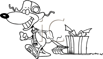 Royalty Free Clipart Image of a Mouse Pulling a Present on a Sled
