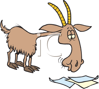 Royalty Free Clipart Image of a Goat Eating Paper