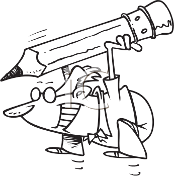 Royalty Free Clipart Image of a Man With a Big Pencil