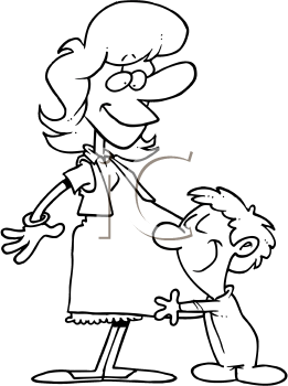 Royalty Free Clipart Image of a Boy Hugging His Expectant Mother