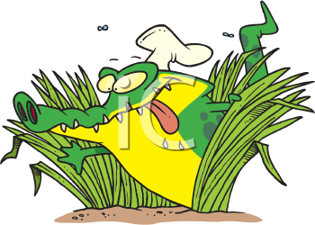 Royalty Free Clipart Image of a Hungry Gator in a Chef's Hat