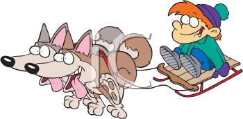 Royalty Free Clipart Image of a Child on a Sled With Dogs