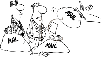 Royalty Free Clipart Image of Mailbags and Two Men