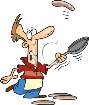 Royalty Free Clipart Image of a Man Flipping Pancakes