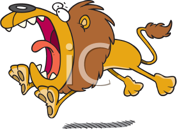Royalty Free Clipart Image of a Lion Pouncing