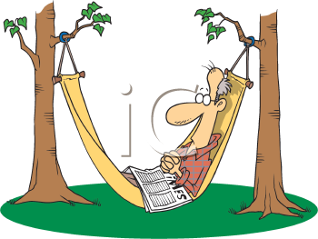 Royalty Free Clipart Image of a Man in a Hammock