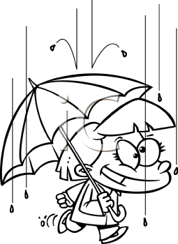 Royalty Free Clipart Image of a Girl Holding an Umbrella in the Rain
