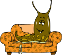Royalty Free Clipart Image of a Slug on a Couch