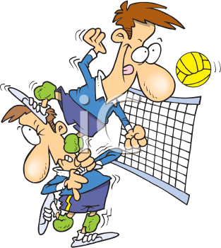 Royalty Free Clipart Image of Volleyball Players
