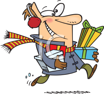 Royalty Free Clipart Image of a Man Running and Holding Presents