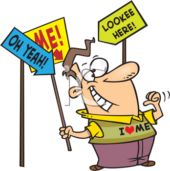 Royalty Free Clipart Image of a Guy With Signs Pointing to Him