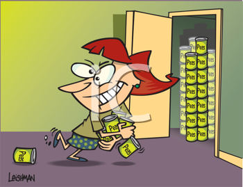 Royalty Free Clipart Image of a Woman Loading Cans Into a Closet