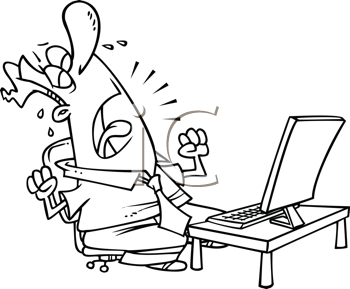 Royalty Free Clipart Image of a Guy Crying at a Computer
