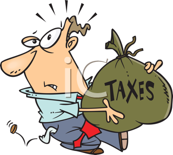 Royalty Free Clipart Image of a Man With a Big Bag of Money for Taxes and a Coin Falling Out of His Pocket