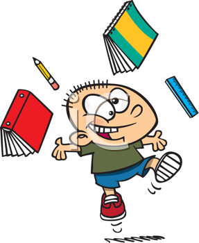 Royalty Free Clipart Image of a Kid With Books