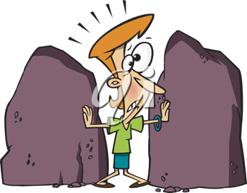 Royalty Free Clipart Image of a Woman Holding Back Two Boulders