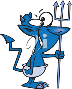 Royalty Free Clipart Image of a Devil Holding a Trident