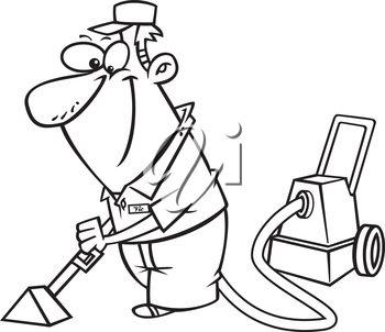 Royalty Free Clipart Image of a Male Cleaning the Carpet