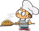 Royalty Free Clipart Image of a Boy Making Bread
