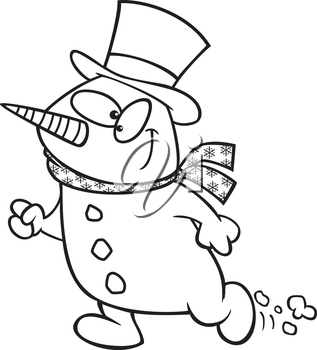 Royalty Free Clipart Image of a Snowman Walking
