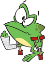 Royalty Free Clipart Image of a Frog on Crutches
