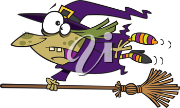 Royalty Free Clipart Image of a Witch Flying her Runaway Broomstick