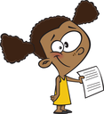 Royalty Free Clipart Image of a Girl Holding a Paper