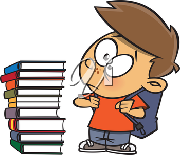 Royalty Free Clipart Image of a Boy Looking at a Stack of Books
