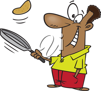 Royalty Free Clipart Image of a Man Flipping a Pancake