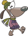 Royalty Free Clipart Image of a Dog Dressed in Winter Clothes Walking on His Back Legs