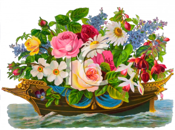 Royalty Free Clipart Image of a Bouquet of Flowers in a Boat