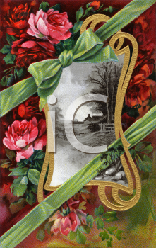 Royalty Free Victorian Illustration of a Farm Scene in a Gold Scroll Frame surrounded by Roses and Ribbons.