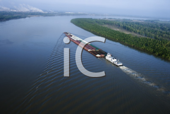 Royalty Free Photo of an Aerial of a Barge on Mississippi River in Baton Rouge, Louisiana