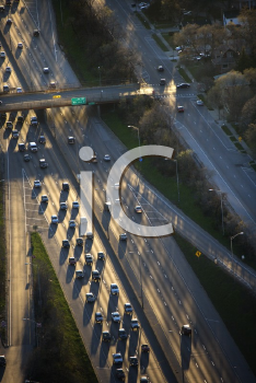 Royalty Free Photo of an Aerial View of Traffic on Dan Ryan Expressway in Chicago, Illinois