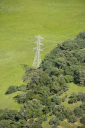 Aerial of landscape with power line.