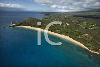 Royalty Free Photo of an Aerial of Coastline With Sandy Beach and Pacific Ocean in Maui, Hawaii