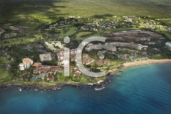 Royalty Free Photo of an Aerial of a Tropical Beach Resort in Maui, Hawaii