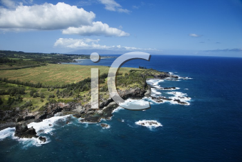 Aerial view of rocky Maui, Hawaii coastline with crop fields.