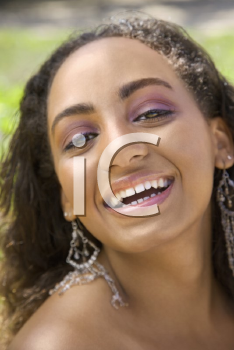 Royalty Free Photo of a Woman Laughing and Smiling