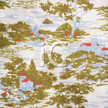 Royalty Free Photo of a Close-up of a Vintage Fabric With a Village and Trees Printed on Polyester