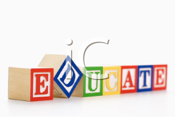 Alphabet toy building blocks spelling the word educate.