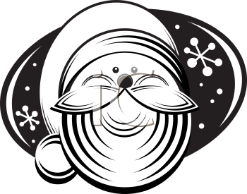 Royalty Free Clipart Image of a Head Shot of Santa