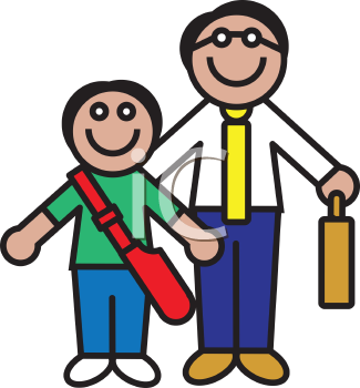 Royalty Free Clipart Image of a Father Holding a Briefcase and a Son Holding a Book Bag