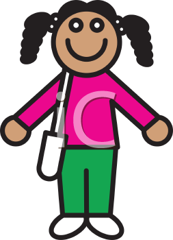 Royalty Free Clipart Image of a Girl Holding a Book Bag