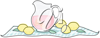 Royalty Free Clipart Image of a Pitcher of Lemonade and Lemons