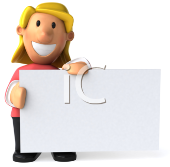 Royalty Free Clipart Image of a Woman Holding a Placard