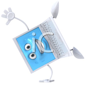 Royalty Free Clipart Image of a Blue and White Laptop Doing a Handstand