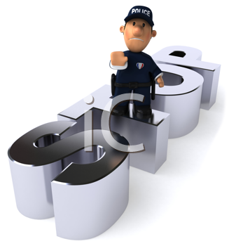 Royalty Free Clipart Image of a Police Officer Saying Stop
